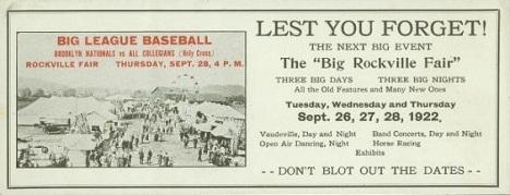 1922 Dodgers vs. Collegians Blotter