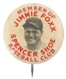 1930s Jimmy Foxx Promo Pin Spencer Shoe