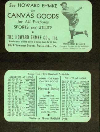 1935 Howard Ehmke Company Schedule Card