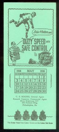 1936 Dizzy Dean Cotton Belt Route Blotter