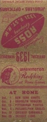 1939 Ross Jewelry Redskins Matchbooks Back