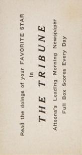 Altoona Tribune Back M101-4 Sporting News