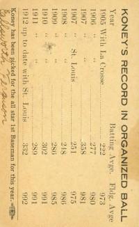 Ed Konetchy 1912 St. Louis Card Back