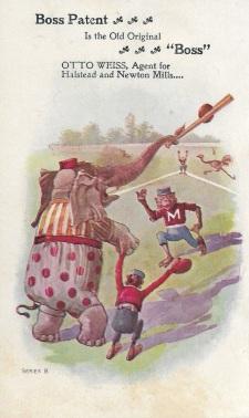 no. 204 elephant and monkeys baseball trade card