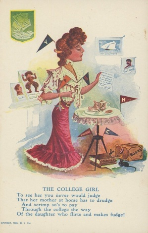 1906 R. Hill The College Girl Football Postcard
