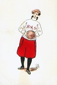 1907 Basketball Girl with Sweater Postcard