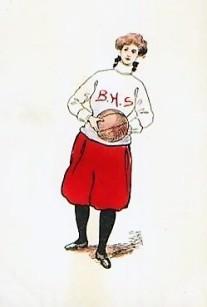 1907 Basketball Girl with Sweater Postcard