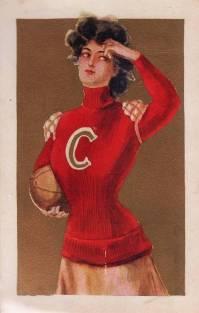 1908 Gold Background Women Sports Postcard Football
