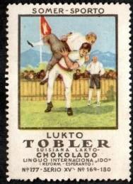 1922 Tobler Summersport Wrestling Stamp