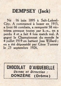 1927 Chocolat D'Aiguebelle Boxing Jack Dempsey Back