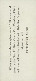 1928 Ruth Candy Card Back