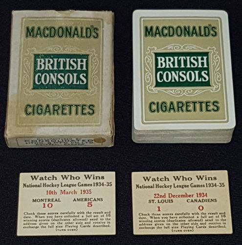 1934-35 British Consols Hockey Cards and Deck