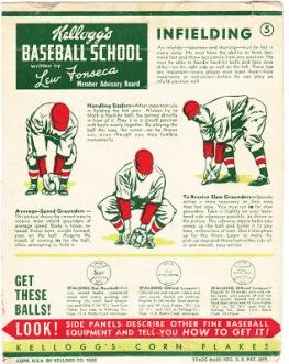 1938 Lew Fonseca Kellogg's Baseball School Box Panel