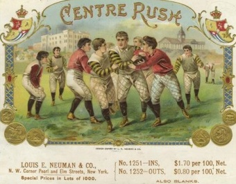 Centre Rush Football Cigar Box Label