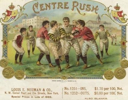 Centre Rush Football Cigar Box Label