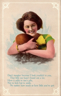 Football Girl and Marriage Postcard