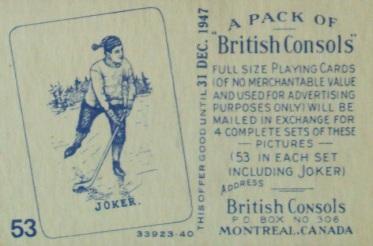 Macdonald British Consols Hockey Joker Card