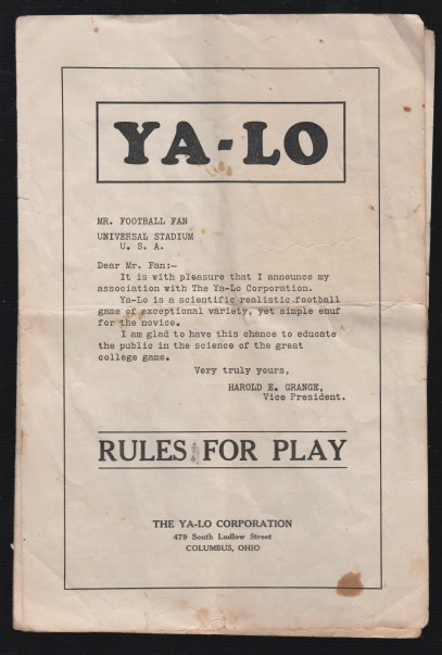Red Grange Ya-Lo Letter