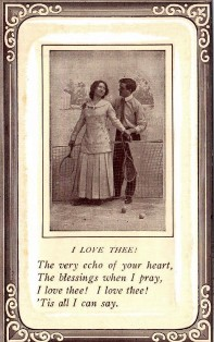 1910 Tennis Poem Romance Postcard
