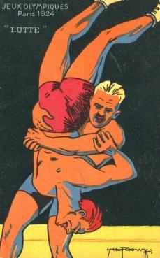 1924 Jeux Olympiques Wrestling Postcard