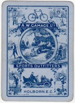 AW Gamage Sports Outfitters Playing Card Blue