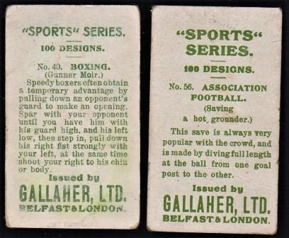 1912 Gallaher Sports Series Backs