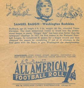 sammy baugh overland all american football roll wrapper