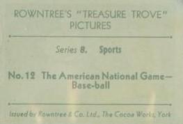 1932 Rowntree Treasure Trove Baseball Back