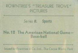 1932 Rowntree Treasure Trove Baseball Back