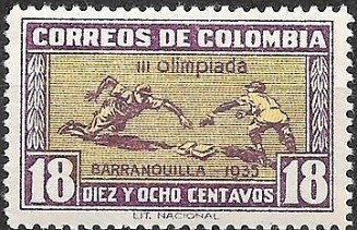 1935 Colombia Olympics Stamp - Baseball