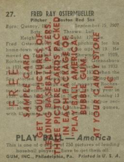 1939 Play Ball Overprint Back