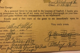 Honus Wagner Release Walter Mails Game