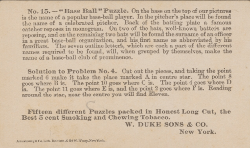 1889 N125 Duke Honest Puzzle Baseball Back