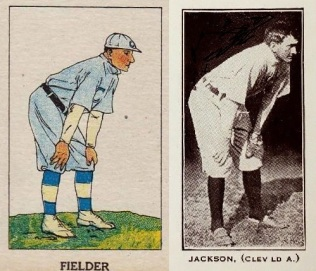 Joe Jackson Fielder W552 Strip Card and Polo Grounds Card