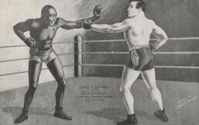 Jack Johnson James Jeffries Boxing Postcard