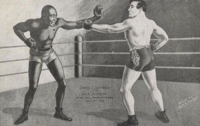 Jack Johnson James Jeffries Boxing Postcard