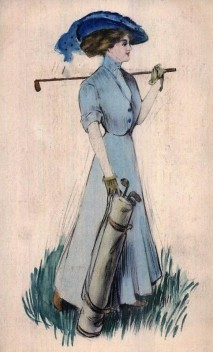 Woman Golf Postcard
