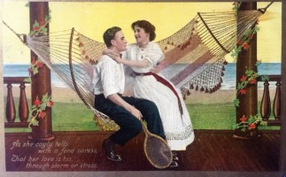 1909 Hammock Series Tennis Postcard