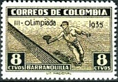 1935 Colombia Olympics Tennis Stamp