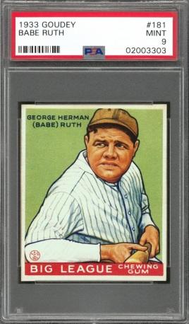 Babe Ruth PSA 9 1933 Goudey