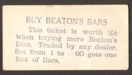 V145-2 Hockey Card Beaton's Bars Overprint Back