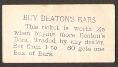 V145-2 Hockey Card Beaton's Bars Overprint Back