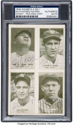 1934 4 in 1 Exhibit Autographed Babe Ruth Lou Gehrig