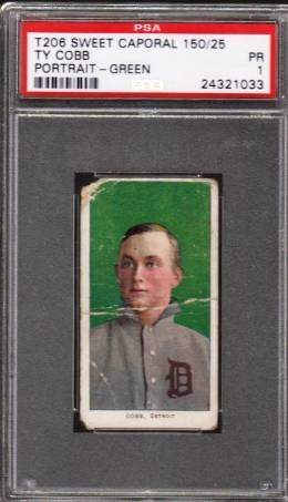 Ty Cobb PSA T206 Green Background