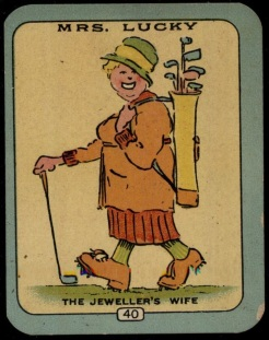 1925 Carreras Happy Families Golf Card Mrs Lucky Large