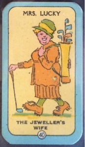 1925 Carreras Happy Families Golf Card Mrs Lucky