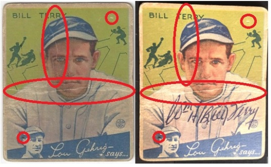 Bill Terry 1934 Goudey Autographed Comparisons