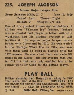 1940 play ball joe jackson back