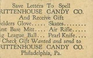 E285 Rittenhouse Candy Ad Back