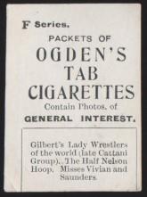 Ogden Tabs Gilbert's Lady Wrestlers Wrestling Card Back